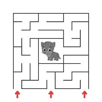 Забавный квадратный лабиринт. игра для детей. пазл для детей. мультипликационный персонаж. загадка лабиринта. цветная векторная иллюстрация. найдите правильный путь. развитие логического и пространственного мышления.