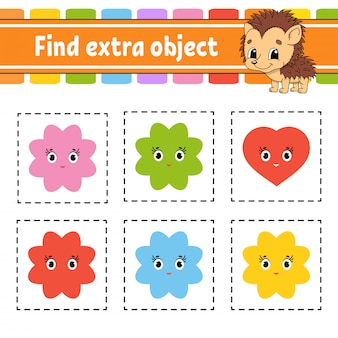 Найти дополнительный объект. рабочая тетрадь для детей и малышей. игра для детей.