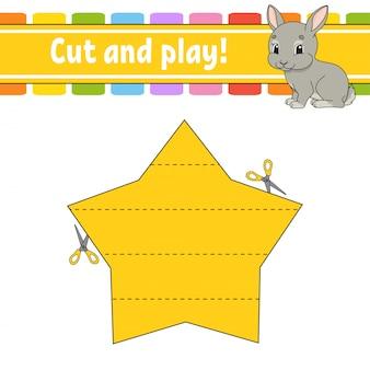 Режь и играй. логическая головоломка для детей. рабочий лист развития образования. обучающая игра. страница активности.