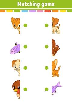 Подходящая игра. нарисуй линию. рабочий лист развития образования. страница активности с цветными картинками.