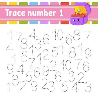 Номер трассировки. почерк практика. учим цифры для детей. рабочий лист развития образования.