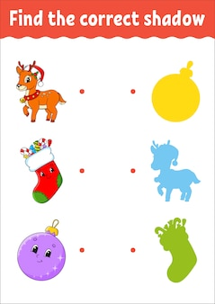 クリスマスの鹿。正しい影を見つけてください。教育開発ワークシート。子供向けのマッチングゲーム。