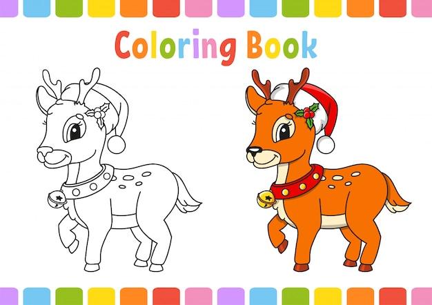 クリスマスの鹿。子供のための塗り絵。陽気なキャラクター。ベクトルイラスト。かわいい漫画のスタイル。