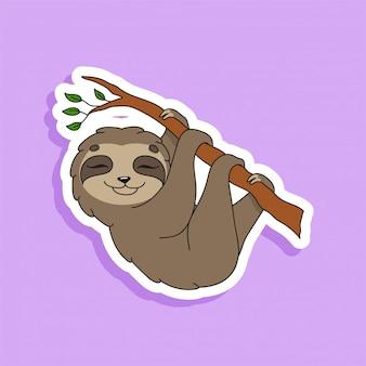 Довольный ленивец. яркий цветной стикер милый мультипликационный персонаж.