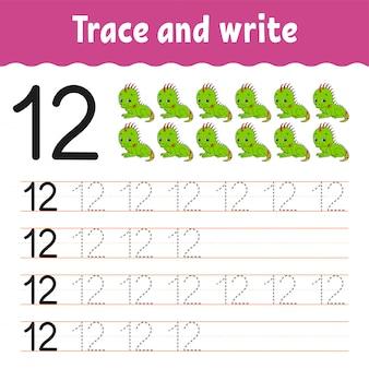 トレースと書き込み。手書きの練習。子供のための学習番号。教育開発ワークシート。アクティビティページ。