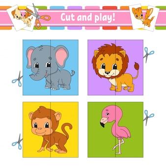 カットアンドプレイ。フラッシュカード。カラーパズル。教育開発ワークシート
