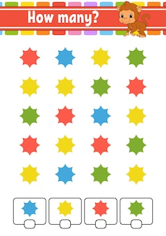 Подсчет игры для детей. счастливые персонажи. учим математику. сколько объектов на картинке. учебный лист.