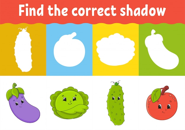 正しい影を見つけてください。教育開発ワークシート。子供向けのマッチングゲーム。