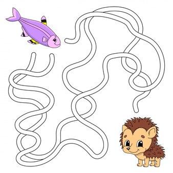 面白い迷路。子供向けのゲーム。子供のためのパズル。