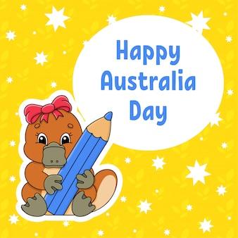 挨拶色正方形カード。ハッピーオーストラリアデー。かわいい漫画カモノハシは、その足に鉛筆を保持しています。