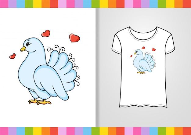 Дизайн футболки. милый персонаж на рубашке. нарисованный от руки.