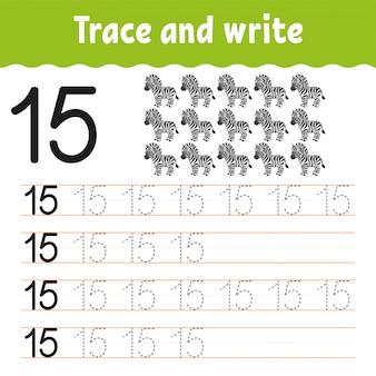 Проследи и напиши. почерк практика. учим цифры для детей. рабочий лист развития образования.