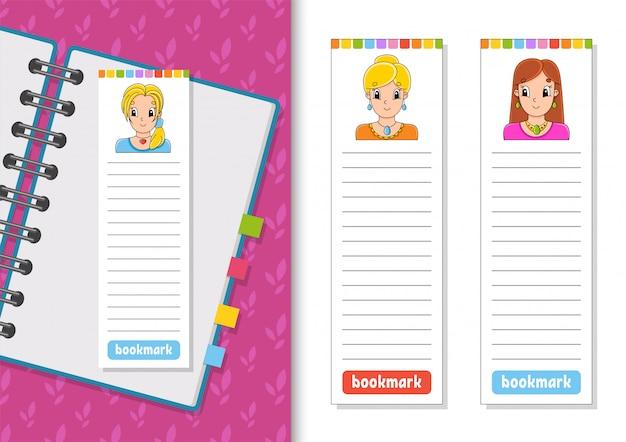 漫画のキャラクターと紙のブックマークのセット