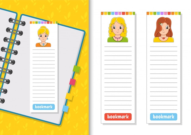 かわいい漫画のキャラクターと本の紙のブックマークのセット。子供のための。