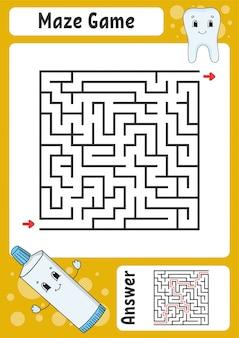 迷路。子供向けのゲーム。面白い迷路。教育開発ワークシート。