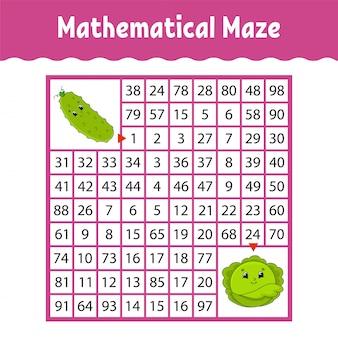 野菜きゅうり、キャベツ。数学的な正方形の迷路。
