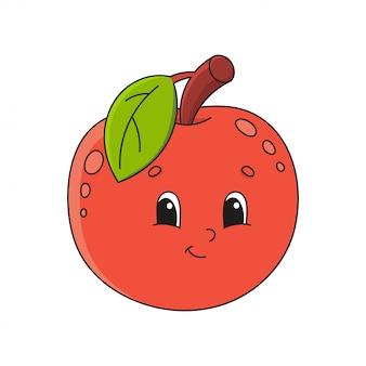 赤いリンゴ。幼稚な漫画スタイルのかわいいフラットイラスト。