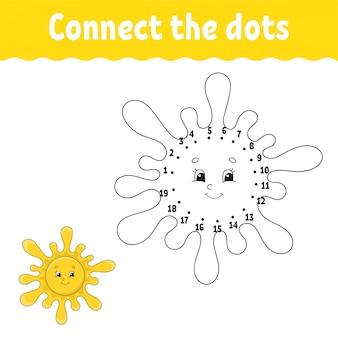 ドットにドット。線を引きます。手書きの練習。子供のための学習番号。