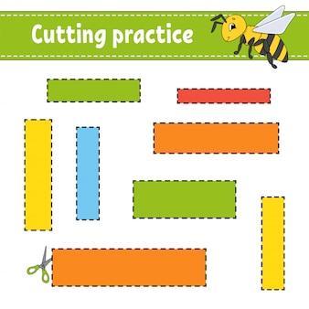 子供のための切削練習。教育開発ワークシート。写真付きのアクティビティページ。