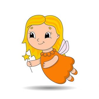 翼と魔法の杖のドレスを着た若い歯の妖精。かわいいキャラクター。