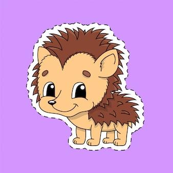 Наклейка с контуром. мультипликационный персонаж. ежик зверек.