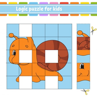 子供向けの論理パズル。カタツムリの軟体動物。教育開発ワークシート。子供向けの学習ゲーム。