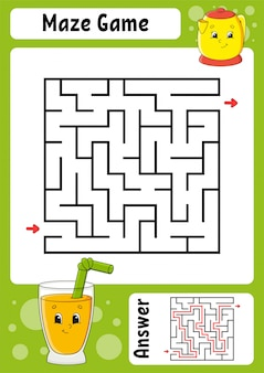 正方形の迷路。子供向けのゲーム。面白い迷路。教育開発ワークシート。アクティビティページ。