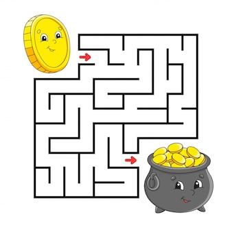 正方形の迷路。子供向けのゲーム。コインと金の鍋。迷宮の難問。