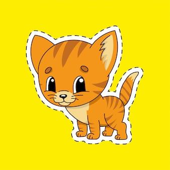 輪郭のステッカー。猫の動物。漫画のキャラクター。
