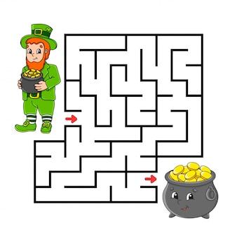 正方形の迷路。子供向けのゲーム。レプラコーンとポット。子供のためのパズル。