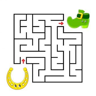 Квадратный лабиринт подкова и ботинок. игра для детей. пазл для детей. загадка лабиринта.