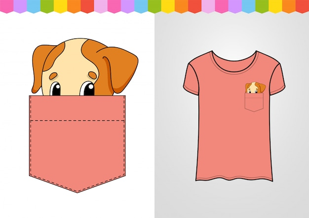 Милый персонаж в кармане рубашки. собачье животное.