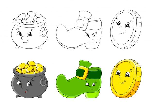Установить раскраски для детей. горшок с золотом, сапог лепрекона, золотая монета. симпатичные герои мультфильмов.