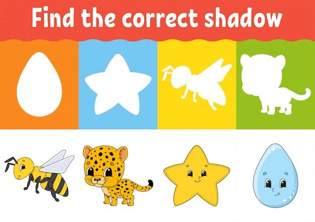Найдите правильную тень. рабочий лист развития образования. игра для детей.