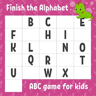 Завершите алфавит. азбука для детей. рабочий лист развития образования. зеленая игуана.