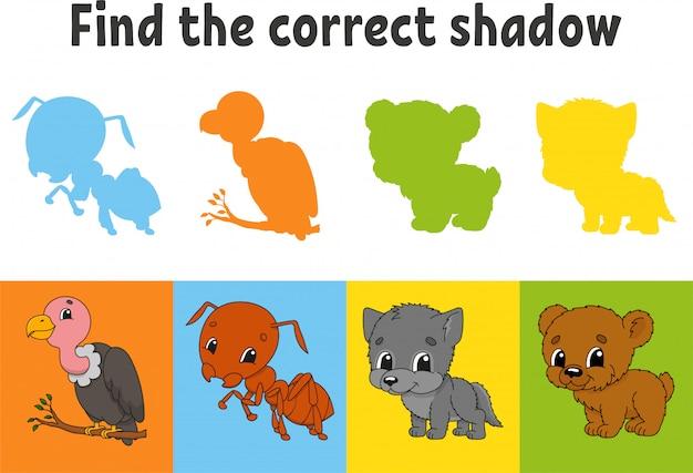 Найдите правильную тень. стервятник, муравей, волк, медведь. учебный лист. игра для детей.