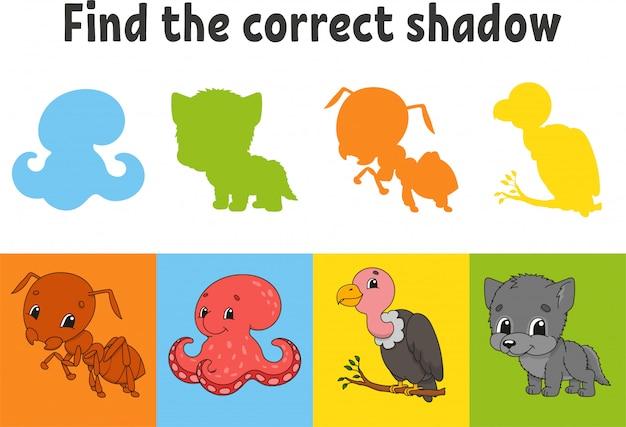 Найдите правильную тень. муравей, осьминог, гриф, волк. учебный лист. игра для детей.