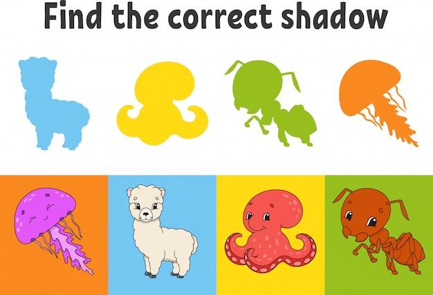 Найдите правильную тень. медуза, альпака, осьминог, муравей. учебный лист. игра для детей.