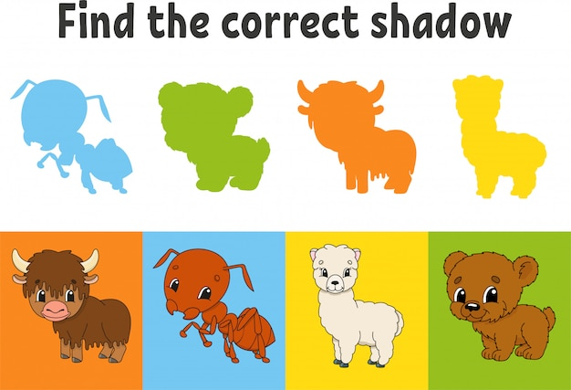 Найдите правильную тень. учебный лист. игра для детей. як, муравей, альпака, медведь. цветная страница активности.