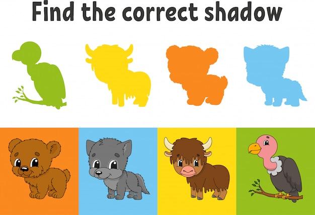 Найдите правильную тень. учебный лист. игра для детей. медведь, волк, як, гриф.