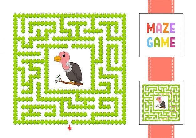 面白い正方形の迷路。子供向けのゲーム。灰色のハゲタカ。子供のためのパズル。性格のある迷宮の難問。