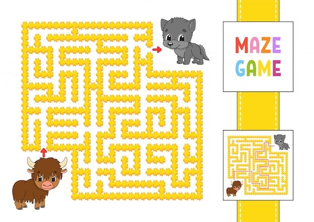 面白い正方形の迷路。子供向けのゲーム。ヤクとオオカミ。子供のためのパズル。性格のある迷宮の難問。