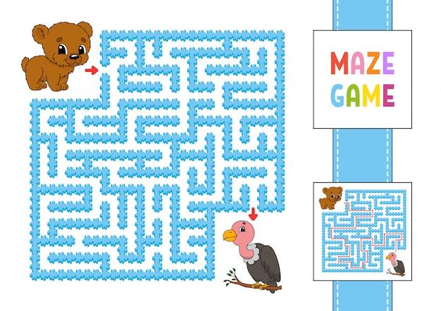 面白い正方形の迷路。子供向けのゲーム。クマとハゲタカ。子供のためのパズル。性格のある迷宮の難問。