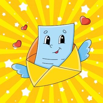 Летающий открытый конверт с крыльями и письмо. милый мультипликационный персонаж.