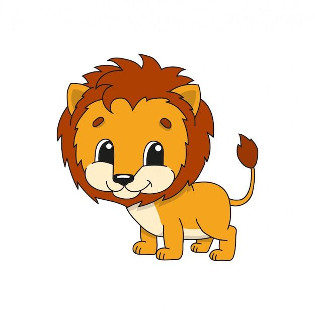 Оранжевый лев. симпатичные иллюстрации в детском мультфильме.