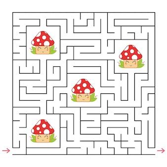 抽象的な正方形の迷路。子供のための面白くて便利なゲーム。