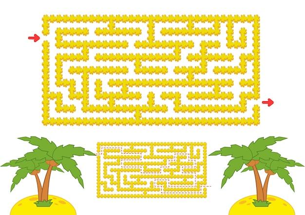 色の長方形の迷路。漫画のスタイルでヤシの木と黄色のビーチ。