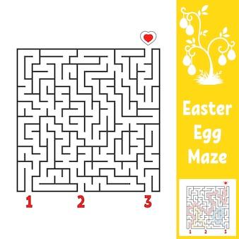 黒い正方形の迷路。子供のワークシート。活動ページ。