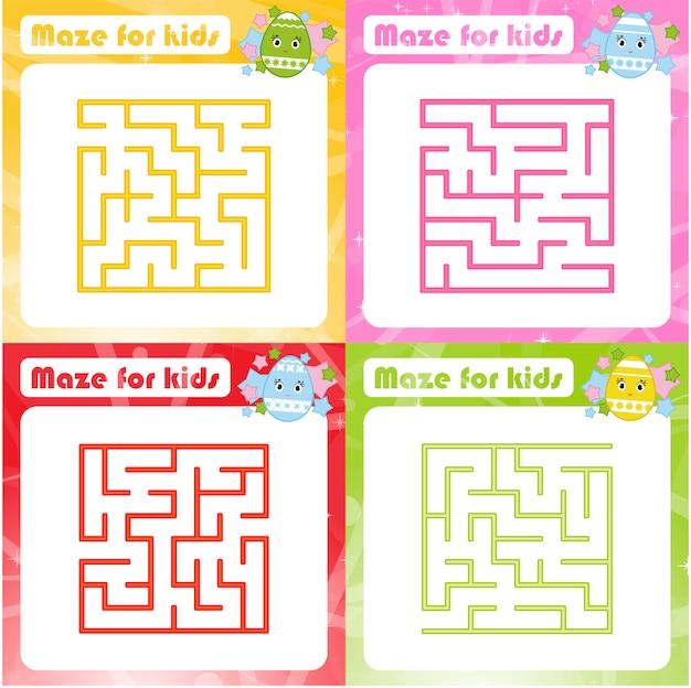 迷路のセット。子供のためのゲーム。子供のためのパズル。