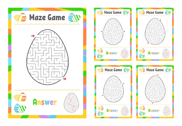 迷路のセット。子供のためのゲーム。子供のためのパズル。迷路の難問。